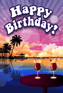 Beach Sunset Theme Birthday Card