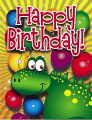 Green Dinosaur Small Birthday Card