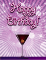 Purple Martini Small Birthday Card