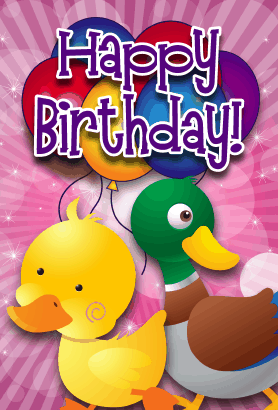 Baby Ducks Birthday Card