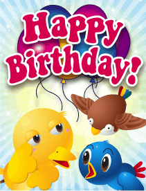 Birds Small Birthday Card