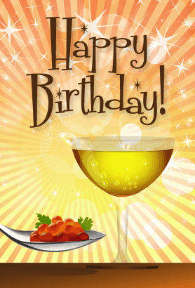 Champagne With Roe Birthday Card