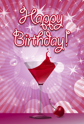 Cherry Cocktail Birthday Card