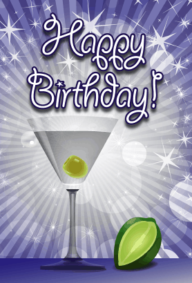 Cocktail With Lime Birthday Card