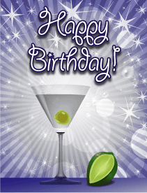 Cocktail With Lime Small Birthday Card