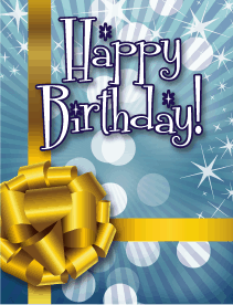 Gold Ribbon With Blue Small Birthday Card