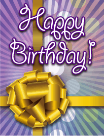 Gold Ribbon With Colors Small Birthday Card
