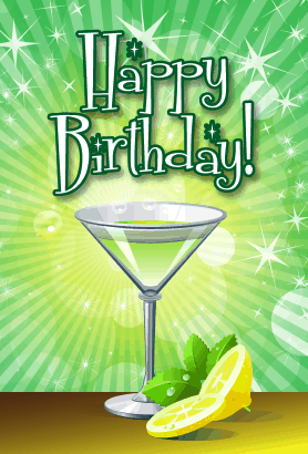 Green Martini Birthday Card