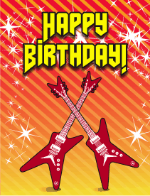 Guitars Small Birthday Card