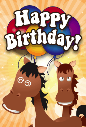 Horses Birthday Card