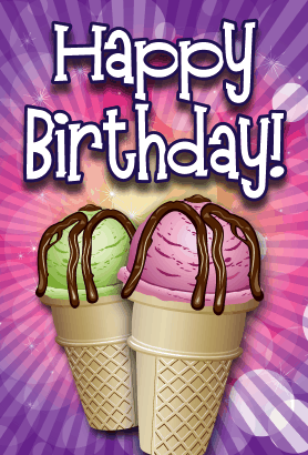 Ice Cream Cones Birthday Card