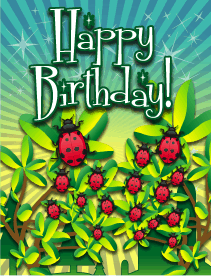 Ladybugs Small Birthday Card