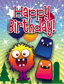 Monsters Balloons Small Birthday Card