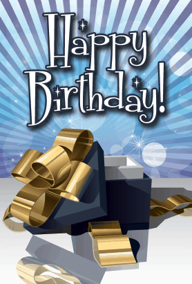 Open Gift Box Birthday Card