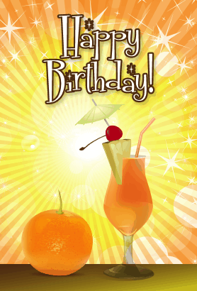 Orange Cocktail Birthday Card