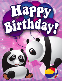 Pandas Small Birthday Card