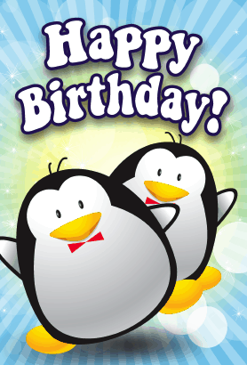 penguinsbirthdaycard, Birthday card