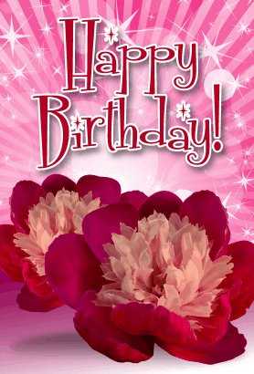 Pink Flowers Birthday Card