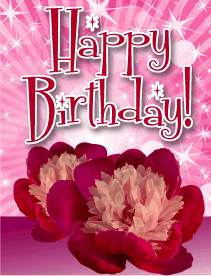 Pink Flowers Small Birthday Card