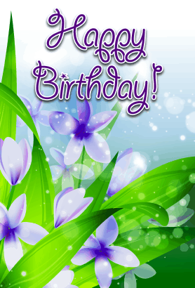 Purple Flowers Birthday Card
