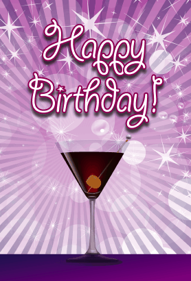 Purple Martini Birthday Card