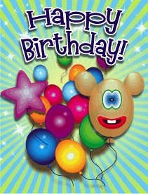 Smiling Balloon Small Birthday Card