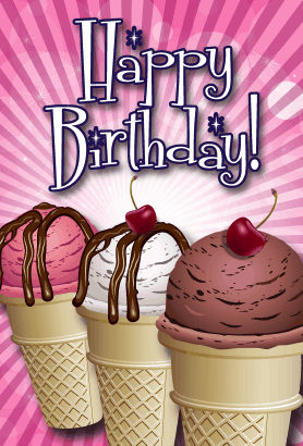 Three Ice Cream Cones Birthday Card