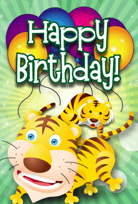 Tigers Birthday Card