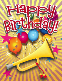 Trumpet Small Birthday Card