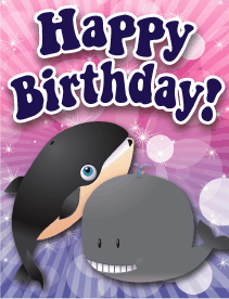 Whales Small Birthday Card