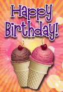 Ice Cream Cones Cherries Birthday Card birthday cards