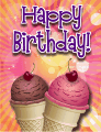 Ice Cream Cones Cherries Small Birthday Card birthday cards