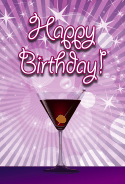 Purple Martini Birthday Card birthday cards